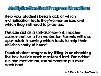 Multiplication Fact Memorization- Progress Tracker and Motivator