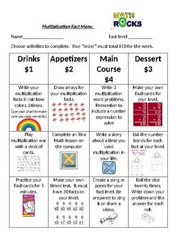 Multiplication Fact Menu