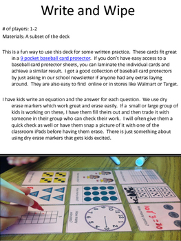 Multiplication Fact Playing Cards Games and Activities