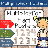 Multiplication Fact Posters - Brown Shiplap