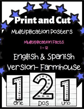 Multiplication Fact Posters (English & Spanish) Farmhouse