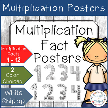 Multiplication Fact Posters - White Shiplap