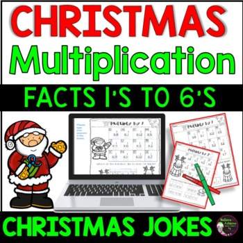 Multiplication Fact Practice 1's to 6's with Christmas Jokes