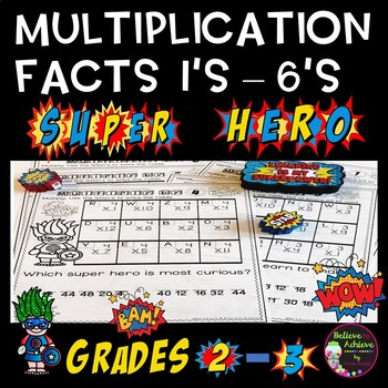 Multiplication Fact Practice 1's to 6's with Super Hero Jokes
