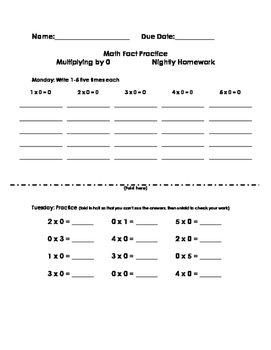 Multiplication Fact Practice Nightly Homework