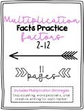 Multiplication Fact Practice Sheets Bundle- (Factors 2-12)