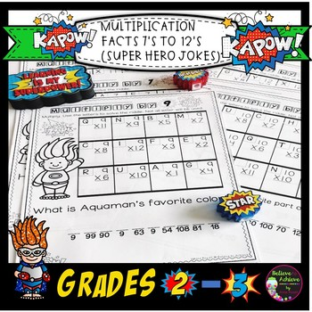 Multiplication Fact Practice 7's to 12's with Super Hero Jokes