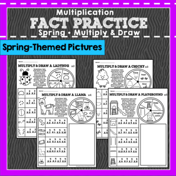 Multiplication Fact Practice: Multiply and Draw Spring Pictures