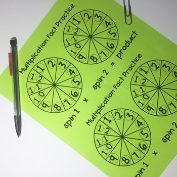Multiplication Fact Practice- Spinner Game