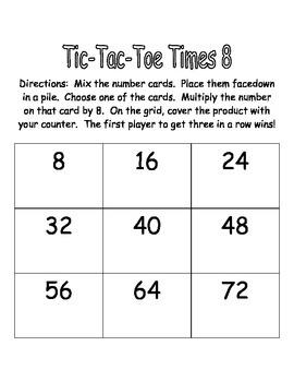 Multiplication Fact Practice - Tic-Tac- Toe