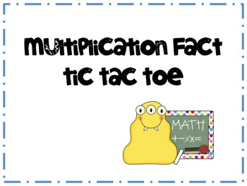 Multiplication Fact Practice Tic Tac Toe Game Sample
