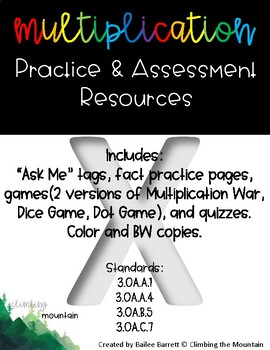 Multiplication Fact Practice and Assessment Resource Bundle