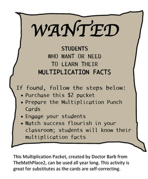 Multiplication Fact Punch Cards (0-12)