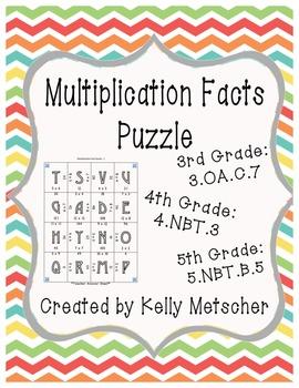 Multiplication Fact Puzzle, 3.OA.7, 4.NBT.3, 5.NBT.5