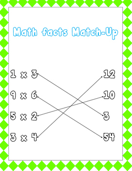 Multiplication Fact Puzzle 9's