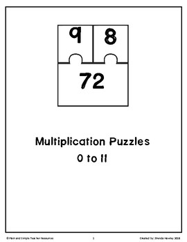 Multiplication Fact Puzzles