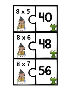 Multiplication Fact Puzzles 7-12 (2 Piece Puzzles)
