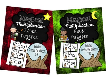 Multiplication Fact Puzzles Bundles (0-12) 2 Piece Puzzles