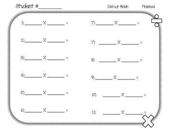 Multiplication Fact Quiz