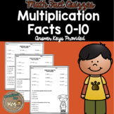 Multiplication Fact Quizzes for Third Grade
