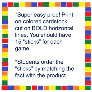 """Multiplication Fact Review- """"Stack the Sticks"""" Bundle"""