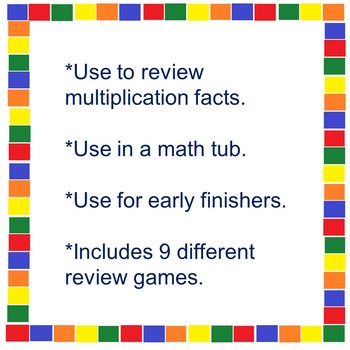 Multiplication Fact Review- Math Tub Bundle