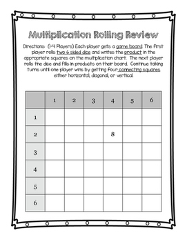 Multiplication Fact Rolling Review **NO PREP*