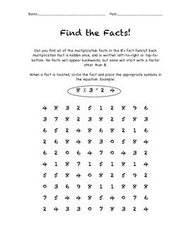 Multiplication Fact Search - Find the Facts - 8's