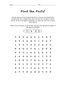 Multiplication Fact Search - Find the Facts - 9's