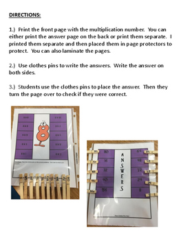 Multiplication Fact Self Checking Activity