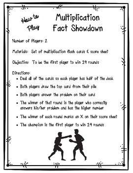 Multiplication Fact Showdown!  Multiplication Fact Fluency Practice Game