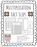 Multiplication Fact Slips + Flash Cards