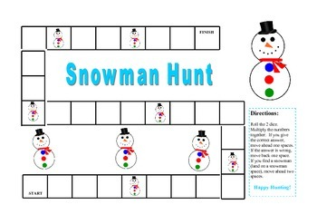 Multiplication Fact Snowman Hunt