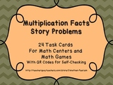 Multiplication Fact Story Problems - 24 Task Cards with QR Codes