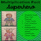 Multiplication Fact Superhero-Fact tracking system - flash cards practice sheets