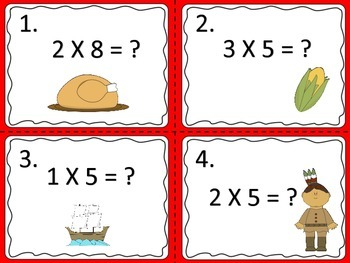 Multiplication Fact Task Cards---6 Sets for Thanksgiving