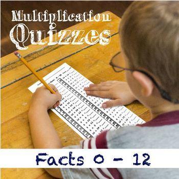 Multiplication Facts Tests 0-12: Times-Tables Quizzes Bundle
