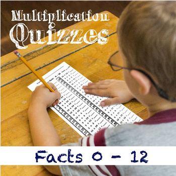 Multiplication Quizzes 0-12: Times-Tables Tests Bundle - V