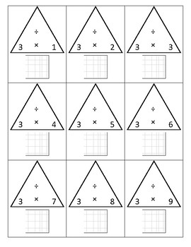 Multiplication Fact Triangles with Array Grid
