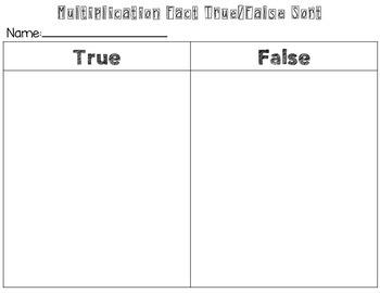 Multiplication Fact True/False Sort