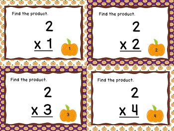 Multiplication Fact and Word Problem Task Cards - Fall Theme - Math Files