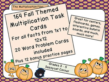 Multiplication Fact and Word Problem Task Cards - Fall The