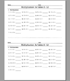 Multiplication: 3s Tables 0 - 12