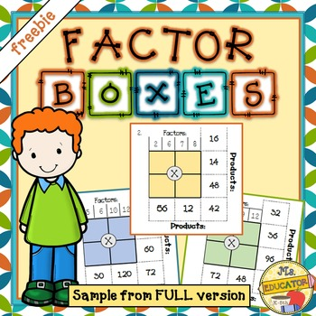 Multiplication Factors and Products - Factor Boxes *freebie*