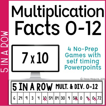 Multiplication Facts 0-10 5 in a Row: 3 No Prep Games & Powerpoints