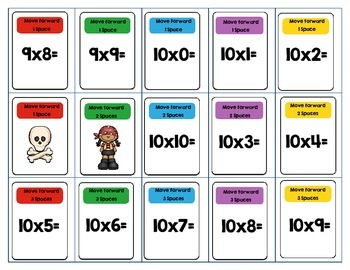 Multiplication Facts 0-10 DVD Case Game Pirate Theme