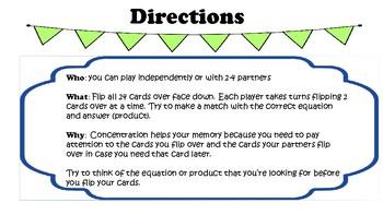 Multiplication Facts 1-10 Concentration Bundle