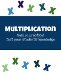 Multiplication Facts 1-12 Quiz/Practice