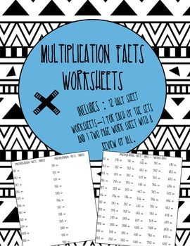 Multiplication Facts 1-12 Worksheets