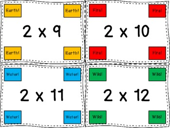 Multiplication Facts 1-4 - Earth! Water! Fire! - An Exciting Facts Review Game